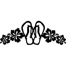 Flip Flop Flower Vinyl Car Decal