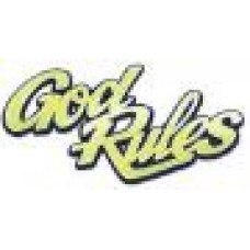 God Rules Gold Chrome Auto Emblem