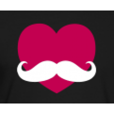 Heart with Moustache Color Sticker