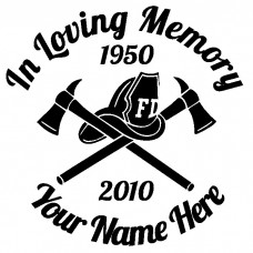 In Loving Memory Fireman Hat and Axes Sticker