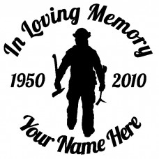In Loving Memory Fireman With Axe Sticker