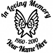 In Loving Memory Star with Wings Sticker