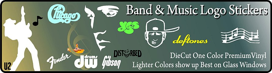 Bands and Music Decals Stickers