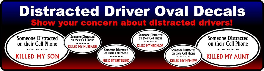 Distracted Driver Oval Stickers