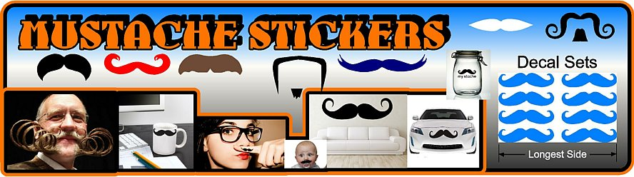 Mustache Decals and Stickers