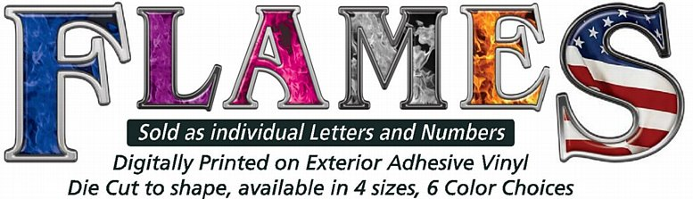 Flame Letters and Numbers Stickers