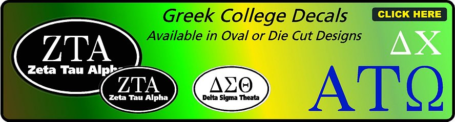 Greek College Decals and Stickers